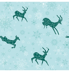 Seamless christmas background with emerald goats vector