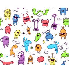 seamless monster pattern vector image vector image