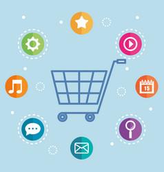 Shopping online commerce market digital internet vector
