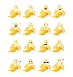 Sixteen banana emojis vector