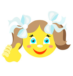 Smiley girl with a thumbs up gesture vector