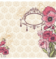 Vintage poppy background vector