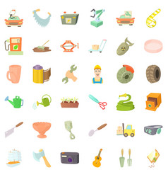 Worker craft icons set cartoon style vector