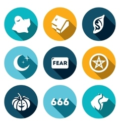 Set of fear icons ghost house vampire vector