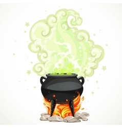 Witches cauldron with green potion and steam to vector image