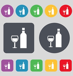 Wine icon sign a set of 12 colored buttons flat vector