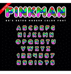 80s - 90s style alphabet colorful bright font set vector