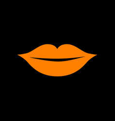 Lips sign  orange icon on black vector