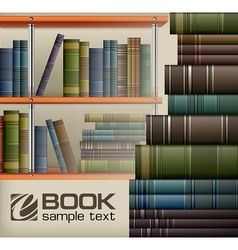 Book stacks on shelf vector