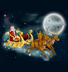 Santa on delivering gifts on christmas eve vector