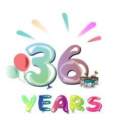 36th happy anniversary celebration vector