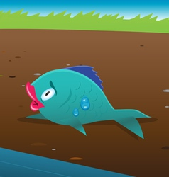 Fish stranded land vector