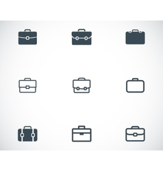 Black briefcase icons set vector