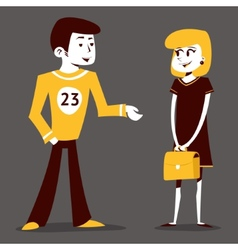 Meeting guy athlete and student girl talking pupil vector