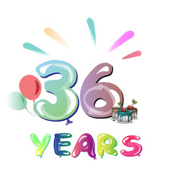 36th happy anniversary celebration vector image
