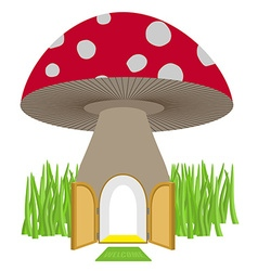 Mushroom with door open amanita house for a dwarf vector