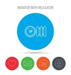 Radiator with regulator icon heater sign vector