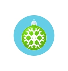 Icon green ball with snowflake vector