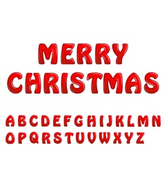 Red shiny letters holiday fonts merry christmas vector