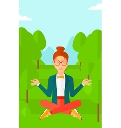 Business woman meditating in lotus pose vector