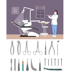 Dentist clinic interior flat vector