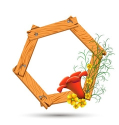 Wooden frame with red and yellow flowers vector