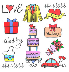 Art wedding element in doodles vector