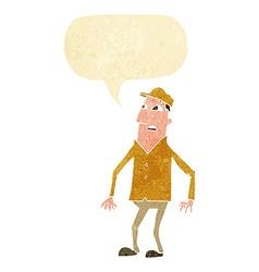cartoon shocked man with speech bubble vector image vector image