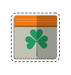 cartoon st patricks day calendar clover icon vector image