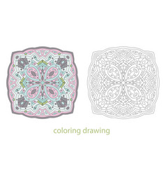 Coloring drawing mandala template vector