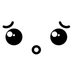 Confused face kawaii character icon vector