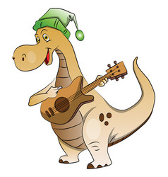 Dinosaur playing guitar vector