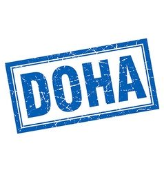 Doha blue square grunge stamp on white vector