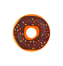 Donut delicious with sprinkles isolated on white vector