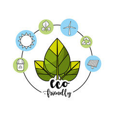 Ecological leaves with environment care icons vector
