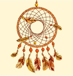 Ethnic dream catcher with feathers vector