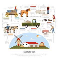 farm animals flowchart concept vector image vector image