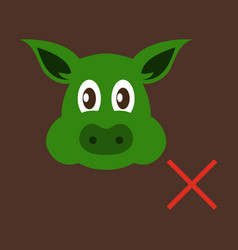 flat icon of pig in graphic style hand drawing vector image vector image