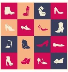 Flat icons of different kinds of shoes vector