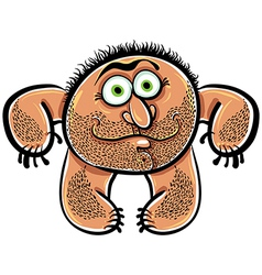 Funny cartoon monster with stubble vector image