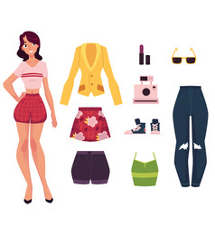 girl young woman and her fashion wardrobe outfit vector image