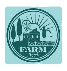 grunge farm food label design vector image