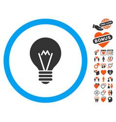Hint bulb icon with love bonus vector