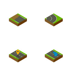 Isometric road set of plash navigation asphalt vector