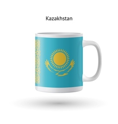 Kazakhstan flag souvenir mug on white background vector