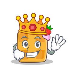 King waffle character cartoon design vector
