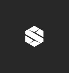 letter s logo in the geometric form of a hexagon vector image