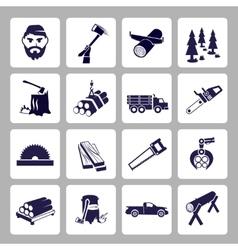 Lumberjack icon set vector