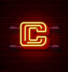 Neon city font letter c signboard vector