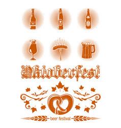 oktoberfest icon set vector image vector image